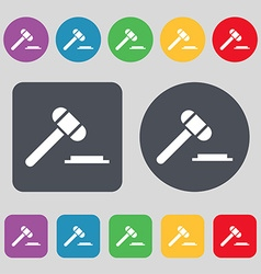 Judge or auction hammer icon sign A set of 12 vector