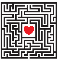 Labyrinth with red heart vector