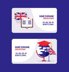 Learn english teachers visiting card vector