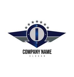 letter i shield logo vector image