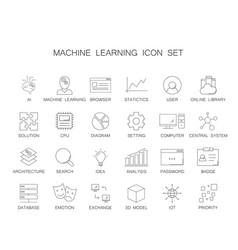 line icons set machine learning pack vector image