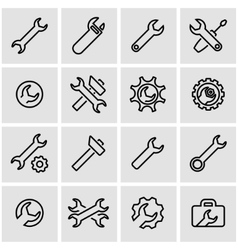 line settings wrench icon set vector image vector image