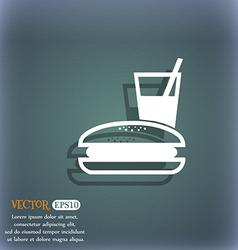 lunch box icon symbol on the blue-green abstract vector image