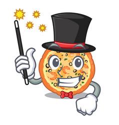 magician seafood pizza above cartoon board vector image