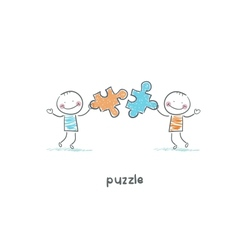 Man and puzzle vector