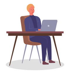 man at table with laptop in office office vector image