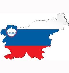 Map of Slovenia with national flag vector image