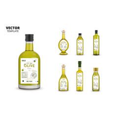 Organic extra virgin olive oil glass bottles vector