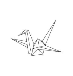 origami paper crane bird geometric line shape vector image