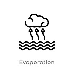 Outline evaporation icon isolated black simple vector