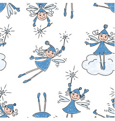 pattern of the cheerful christmas elves vector image