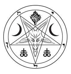 pentagram sign lucifer head a vector image