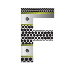 Perforated metal letter F vector
