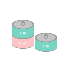 Pet cat dog food tin can with ring Wet cat eating vector