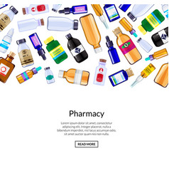 pharmacy medicine bottles and pills vector image