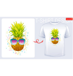 pineapple t-shirt print trendy fashion design vector image