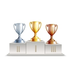Podium winners with trophy cups vector image