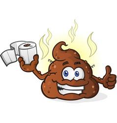poop cartoon character holding toilet paper vector image