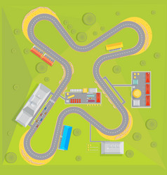 Racing course flat composition vector