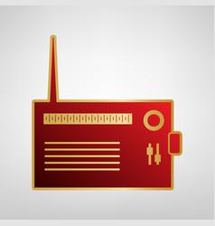 Radio sign red icon on gold vector