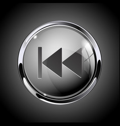 Rewind button 3d shiny gray icon for media vector