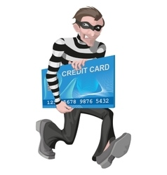 Robber man stole credit card Stealing money vector image