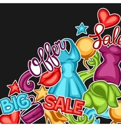 Sale background with female clothing and vector image
