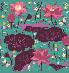 seamless pattern with lotuses and aquatic plants vector image