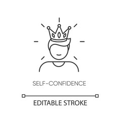 Self confidence pixel perfect linear icon vector