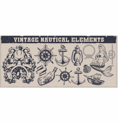 set black and white vintage nautical elements vector image