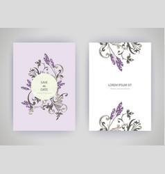 set card with flower lavender leaves wedding vector image