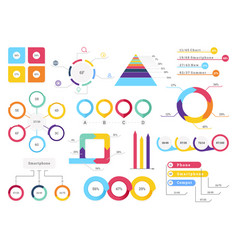 set elements infographics info bars graphycs vector image