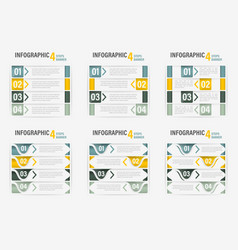 set info-graphic four steps horizontal banner vector image