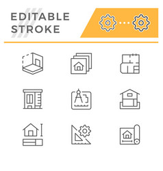 set line icons architectural vector image