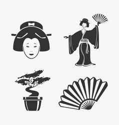 Set of elements japan vector