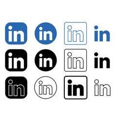 Set popular social network linkedin vector