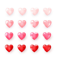 set red and pink decorative hearts stylized vector image