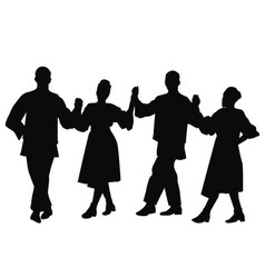 silhouettes folk dancers vector image