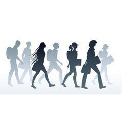 silhouettes of teenage gang students going to vector image