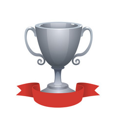 silver cup trophy award with red label vector image