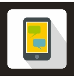 Smartphone with blank speech bubbles icon vector image