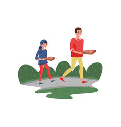 smiling father and his son walking home with pizza vector image