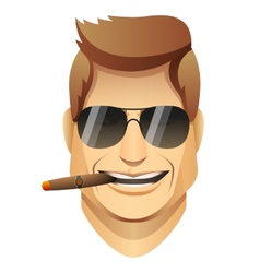 Smiling male faces with sunglasses and cigar vector