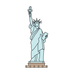 statue liberty new york outline isolated vector image