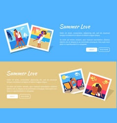 Summer love poster with photos of lovely couple vector