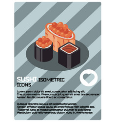 Sushi color isomeric poster vector