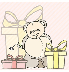 teddy bear hand drawn design card vector image