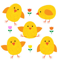 Thumbprint easter chicks vector