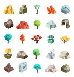 Trees rock stone boulder cave cristal rune cartoon vector