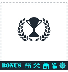 Trophy icon flat vector